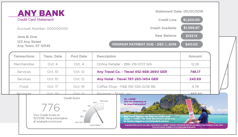 billing statement with color ad