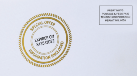 Spot embossing can help highlight your special offer or program details