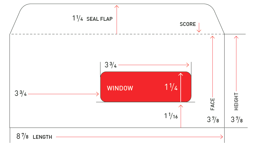 Length and width measurements of a basic envelope including overall length and height, the window, seal flap, face, and score.