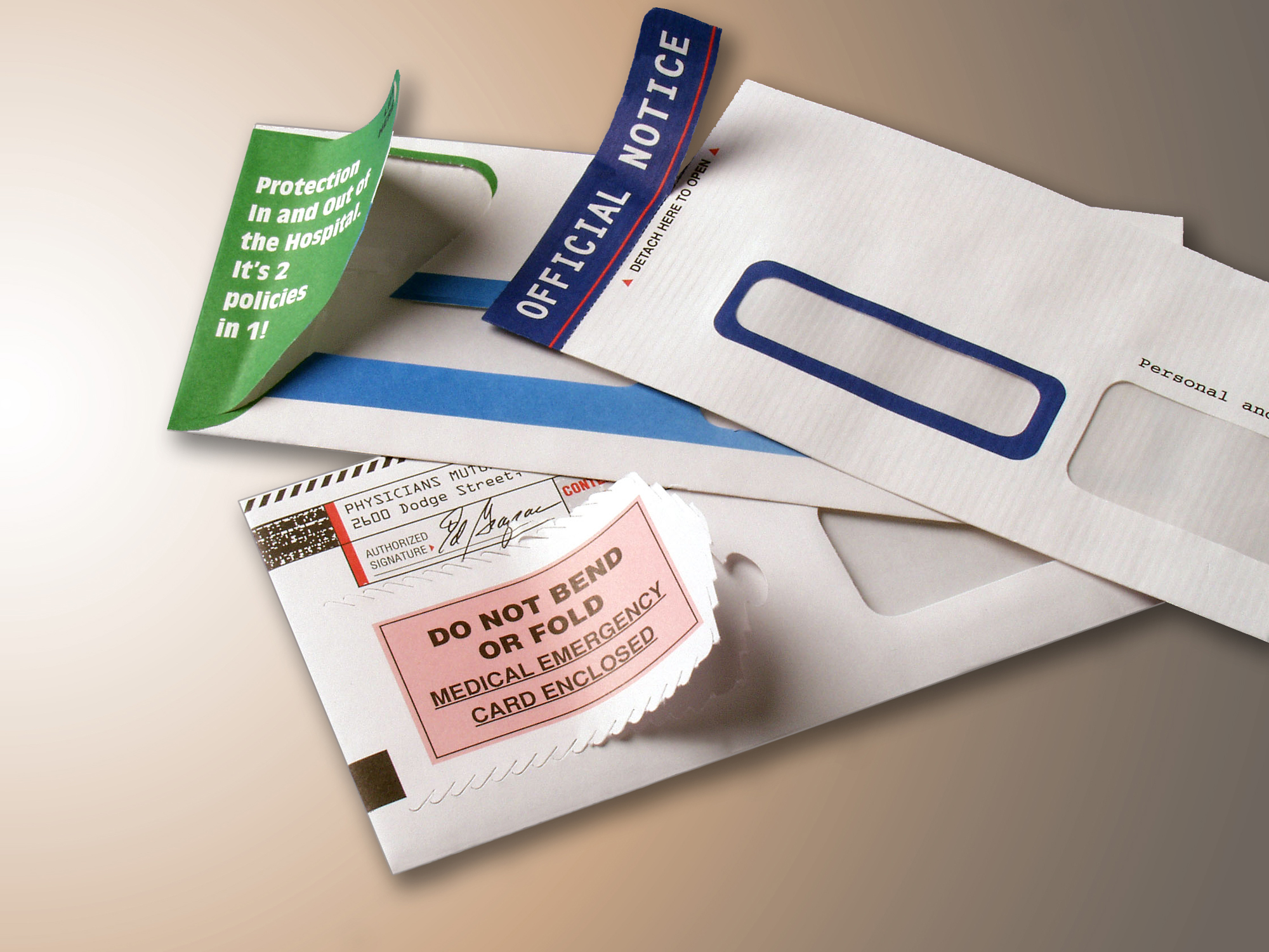 An assortment of Tension's interactive direct mail envelopes.