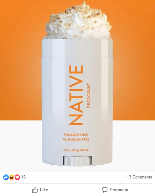 Native deoderant ad for Pumpkin Spice latte