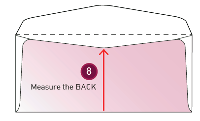 How to measure an envelope step 8: Measure the back