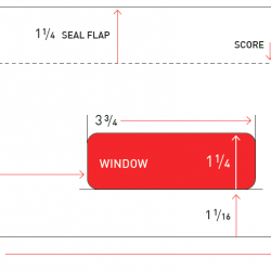 Envelope measurements including the length and height of the whole envelope, face, seal flap, and score