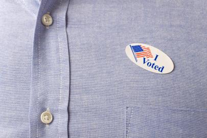 Voter wearing an I Voted sticker.