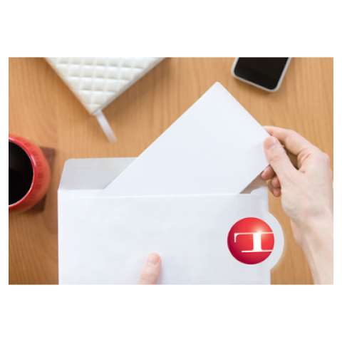 Trailing edge die-cut envelope with Tension t-ball logo