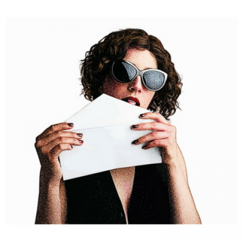 lady licking envelope gum