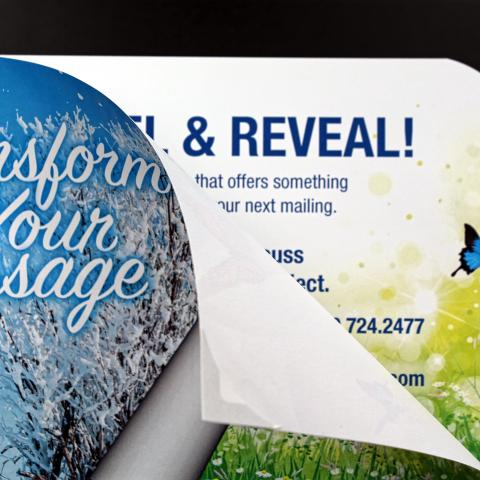 One example of Tension's interactive Peel and Reveal direct mail postcards.