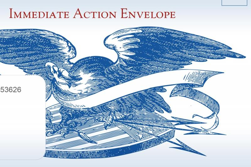 Eagle graphic on envelope