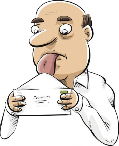 cartoon licking envelope
