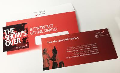 An example of Tension's Trailing Edge die cut envelope