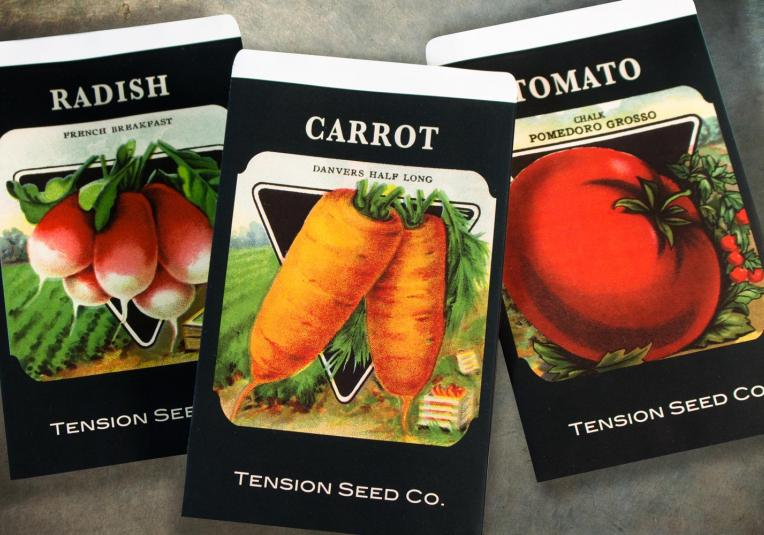A selection of Tension's customizable seed packet envelopes.