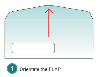 How to measure an envelope window step 1: Orientate the flap