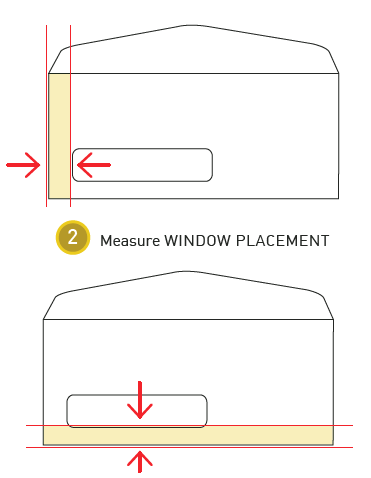 How to measure an envelope window step 2: Measure the window placement