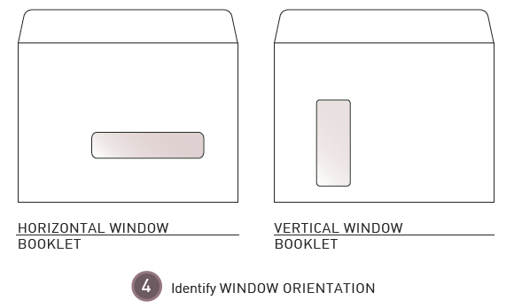 How to measure an envelope window step 4: Identify window orientation