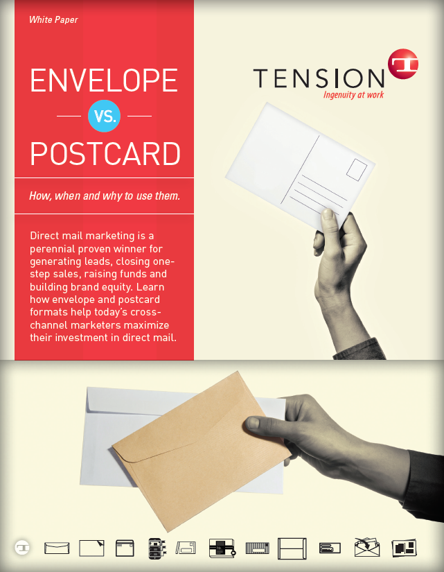 Tension envelope vs postcard white paper